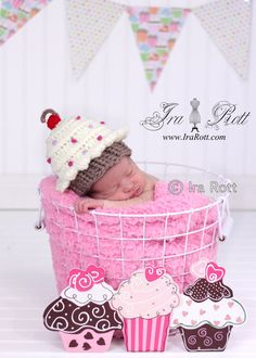 Handmade Crochet Cupcake Beanie Hat for all ages    www.irarott.com