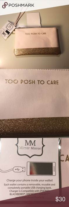 "Posh Charging Wallet NEW Blush Pink & Gold Glitter Posh Charging Wallet NEW Blush Pink & Gold Glitter with removable wrist strap. ""Too Posh to Care "" charge your phone inside your wallet , each wallet contains a removable reusable and portable USB charging bank. Compatible with iPhone, BlackBerry, android, galaxy, and smart phone products Perfect Christmas Gift Idea  Mirror Mirror Bags Wallets"