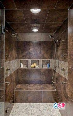 ideas for master bathroom remodel shower tile benches Rustic Shower, Modern Shower, Modern Bathroom, Master Bathroom, Shower Bathroom, Bathroom Ideas, Bathroom Small, Gray Bathrooms, Bathroom Niche