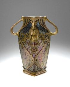 Loetz Vase, circa 1900, frame designed by Gustav Gurschner  |  SOLD $3,948 Germany 2006