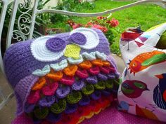 cute crochet owl pillow