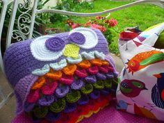 cute crochet owl pillow