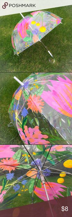"""☂️Clear Bubble Umbrella With Floral Design☂️ April showers bring May flowers. Super cute bubble umbrella with spring time vibes. No holes or tears to it. Opening and closing mechanisms work perfectly. Measures 34"""" from  the top tip to end of the handle and 33.5"""" across opened. Metal frame with a polyolefin shell material. I'm only looking to sell at this time so sorry but no trades. I've priced this item at the lowest I will accept so my listing price is firm. Thimblepress Accessories…"""