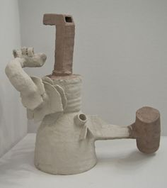 """Grant Barnhart  """"Death of a clown"""",   Dimensions varied,   Unfired clay and burlap, (2011)"""