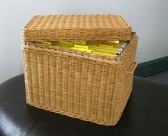 Vintage Rattan File Basket Wicker Box with Lid by maggiemaevintage, $50.00