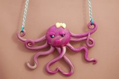 Octopus Necklace  Polymer Clay  Kawaii  OOAK  by PunkInPink