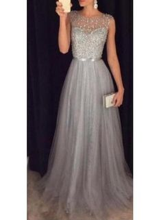 USD$159.00 - Elegant Sparkly Tulle Grey A-line Sequins Beaded Sleeveless Evening Dresses AP0 - www.27dress.com