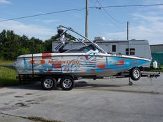Bayliner Boat Custom Vinyl Wrap Featuring Old School Flames Boat - Bayliner boat decals