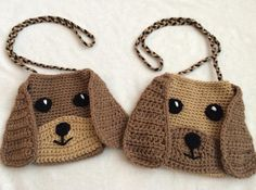Puppy Purse/Bag   Craftsy  This adorable puppy purse is great for any puppy lover. You can change up the colors to make it your own. It's a great size for toddlers all the way up to preteens!   The single crochet makes it a tight stitch so you personal possessions will not fall or poke through.