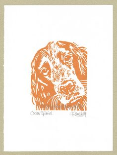 Cocker Spaniel Dog  Linocut Original handpulled by littleRamstudio, £18.00