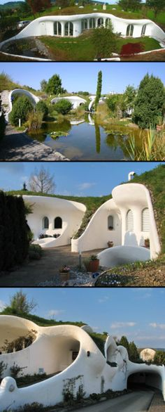 Looks like earth bag or cob with a natural design swimming pool and underground garage