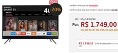 "Smart TV LED 40"" Full HD Samsung 40K5300 Conversor Digital Wi-Fi 2 HDMI e 1 USB << R$ 153912 >>"