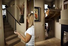 Perfect concept for a secret room or small home with limited space. Awesome idea for a loft bed area.