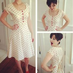 Red spotty Doris dress - see her variations - could pull this off - seeing charcoal with wood or custom polymer buttons