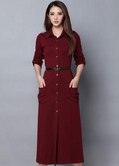 Lapel Buttons Belt Wine Red Dress
