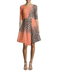 Half-Sleeve Asymmetrical Combo Frock by Tracy Reese at Neiman Marcus.