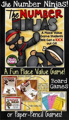 "The Number Ninjas is a fun math game that requires students to use their knowledge of place value to create the largest (or smallest, for a switch) number possible, while ""kicking out"" an unwanted number. The game can be played with a whole group, small group, or as a partner activity. This game set includes game board options for 4, 5, and 6 digit numbers and paper-pencil options!"