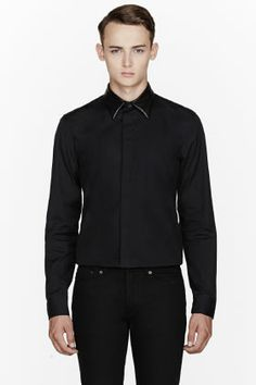 Givenchy Black Leather-collar Shirt for men | SSENSE