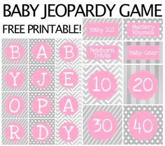FREE baby shower jeopardy printables!