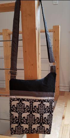 Sac Be-Bop cousu par Catherine Marinier - Tissu(s) utilisé(s) : Tissus provenant de vêtements recyclés - Patron Sacôtin : Be-Bop