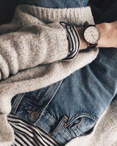 high rise denim, stripes, and knits