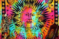 Indian Psychedelic Celestial Sun Moon Stars Tie Dye Tapestry, Good Morning Tapestry, Celestial Tapestry, Beach Throw, Bohemian Tapestries, Hippie Hippy Style, Gypsy Boho Wall Decor, Dorm Tapestry, Table Cloth, Picnic Blanket, 86x94 Inch. By Bhagyoday BhagyodayFashions http://www.amazon.com/dp/B00W4WFNYK/ref=cm_sw_r_pi_dp_5dd.vb1HV538R