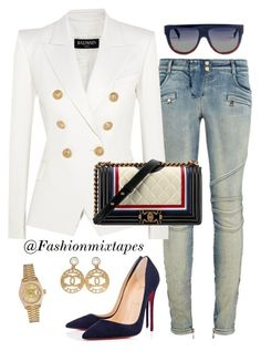 """""""Mood"""" by divamanda on Polyvore featuring Balmain, Chanel, Christian Louboutin, CÉLINE and Rolex"""
