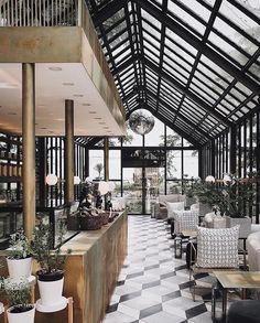 Bar Design Guide on Inst - hotel Roof Design, Cafe Design, House Design, Architecture Restaurant, Interior Architecture, Budapest Restaurant, Restaurant Interior Design, Luxury Restaurant, Interior Shop