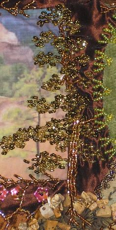 I ❤ beadwork & crazy quilting . . .  Beaded Tree ~By Leslie Erhlich. Pinyon Creek Stitchin'