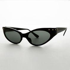 Punk Rockabilly 90s Studded Cat Eye Womens Vintage Sunglass NOS -EFFY