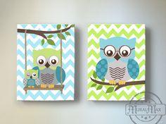 Owl Nursery Decor - Green and Teal OWL canvas art, Baby Boy Nursery Owl Decor woodland nursery art Elephant Canvas Art, Owl Canvas, Nursery Canvas, Nursery Wall Art, Elephant Nursery, Girl Nursery, Canvas Prints, Owl Nursery Decor, Nursery Themes