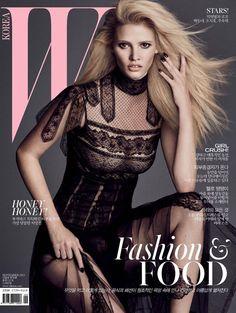 Back to black (nails)! Lara Stone on the September 2015 cover of W Korea