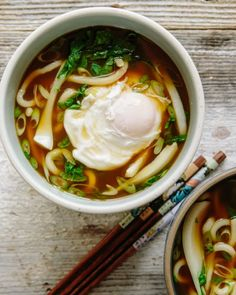 Recipe: Udon Soup with Bok Choy and Poached Egg | Kitchn Noodle Recipes, Egg Recipes, Soup Recipes, Vegetarian Recipes, Chicken Recipes, Dinner Recipes, Chicken Soups, Recipe Chicken, Easy Udon Noodle Soup Recipe