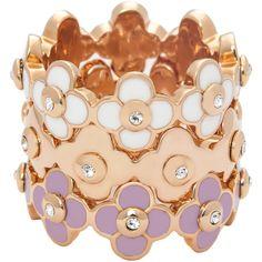 Henri Bendel Enamel Petal Stack Ring (730 NOK) ❤ liked on Polyvore featuring jewelry, rings, lilac, henri bendel, enamel jewelry, stackable rings, henri bendel rings and enamel stackable rings