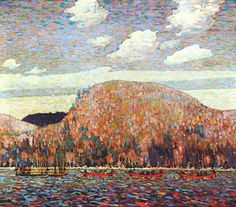 THE POINTERS painted by Tom Thompson in Algonquin Park shows loggers dragging log booms.