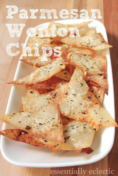 Parmesan Wonton Chips Recipe – Mom Makes Joy Parmesan Wonton Chips by Essentially Eclectic Wonton Recipes, Appetizer Recipes, Snack Recipes, Cooking Recipes, Italian Appetizers, Skillet Recipes, Cooking Gadgets, Cooking Tools, Quick Snacks