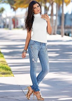 These jeans guarantee glam for days! Venus embellished jean with seamless mock neck top.