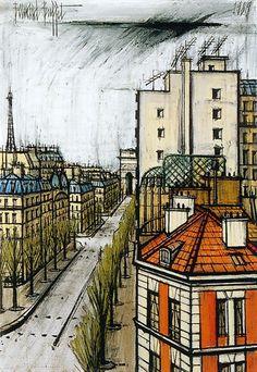 Avenue de Wagram, Paris, oil on canvas // Bernard Buffet Paula Modersohn Becker, Paris Illustration, Illustrator, Franz Marc, Tour Eiffel, French Artists, Walter Gropius, Land Scape, Photos