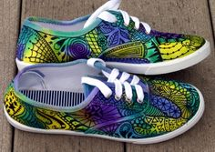 Zentangle sneakers, shoes, sneakers, zentangle art, original art, OOAK, womens sneakers, Custom sneakers, handpainted.  via Etsy.