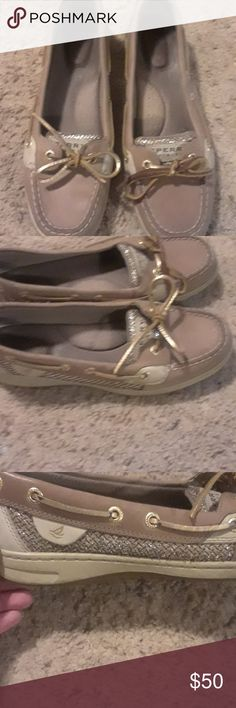SPERRY  top-sider Gold glitter fish scale look used still a lot of life left good condition very comfurble Sperry Top-Sider Shoes Moccasins