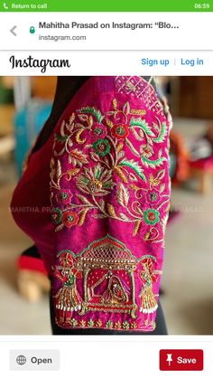 Blouses of art and cultureFor those extremely beautiful Kanjeevaram sarees. Handmade love for brides all the way from 'Mahitha Prasad'… Wedding Saree Blouse Designs, Pattu Saree Blouse Designs, Fancy Blouse Designs, Saree Blouse Patterns, Designer Blouse Patterns, Blouse Neck Designs, Wedding Blouses, Saris, Maggam Work Designs