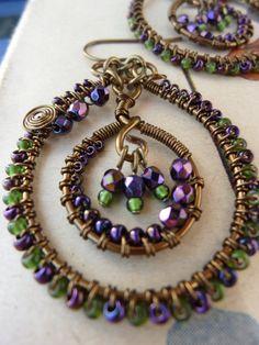 Wire Wrapped Hoop Earrings - Beaded Earrings - Dangle Earrings - Brass - Purple - Green. $46.00, via Etsy.