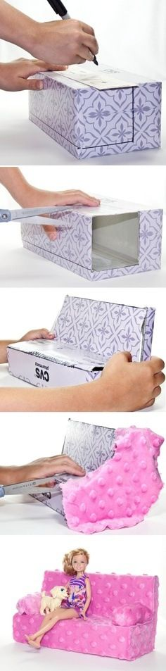 DIY Barbie sofa from a tissue box