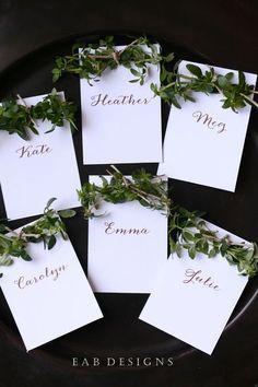 DIY Place Cards using fresh herbs. | www.eabdesigns.typepad.com