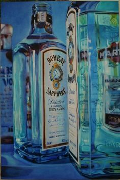 Mmm, my drink of choice. Kate Brinkworth- Distilled Blue. Bombay Sapphire bottle painting @Fearghas MacGregor