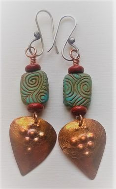 Polymer clay earrings with copper dangle by Shelley Atwood. More at shelleyatwood.com.