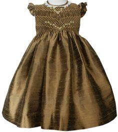 New Beautiful Thanksgiving Golden Silk Smocked Girl Dress Boutique Design 16756