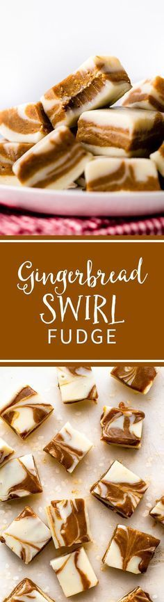 You only need a few simple ingredients and 1 pan to make this super CREAMY and easy gingerbread swirl fudge! Christmas candy recipe on sallysbakingaddiction.com