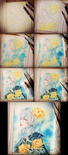 Pivoines step-by-step by auroreblackcat.deviantart.com on @DeviantArt