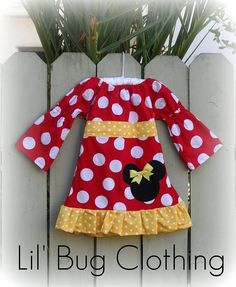 *Custom Minnie Mouse Red and Yellow Fall Girls Peasant Dress. *Available in sizes 12 18 24 6 girl. *Welcome to Lil Bug Clothing Disney Outfits, Girl Outfits, Cute Outfits, Bug Clothing, Girl Falling, Disney Style, Handmade Clothes, Cool Kids, Minnie Mouse
